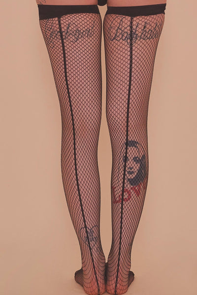 Bettie Page Fishnet Seamed Stockings Black US 4 - 18