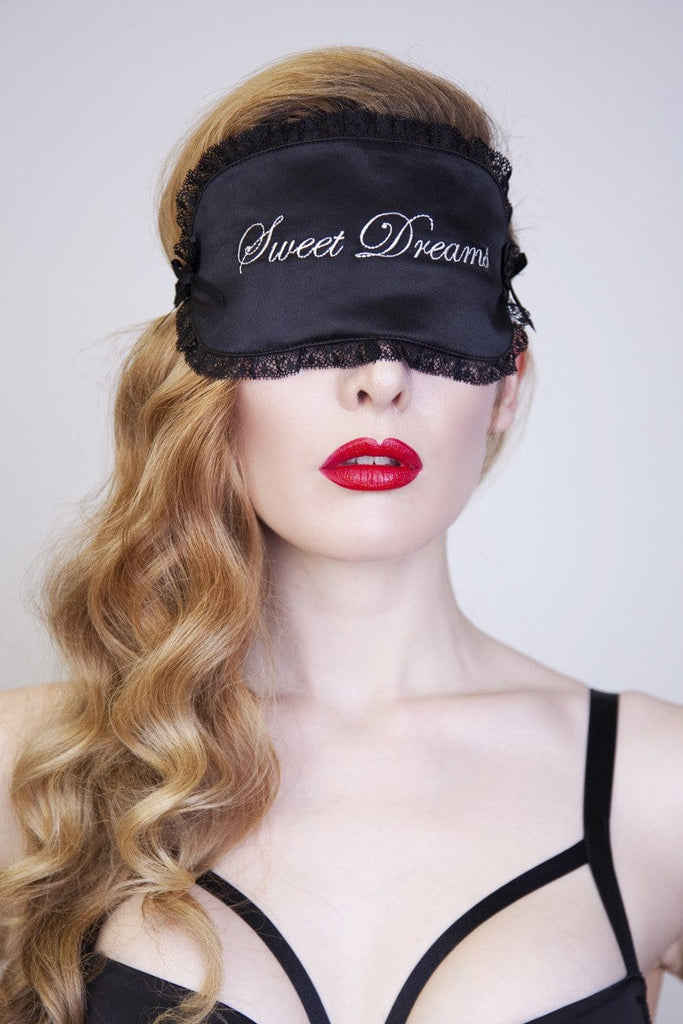 ivory embroidery black lace satin eye mask sleep gift blindfold