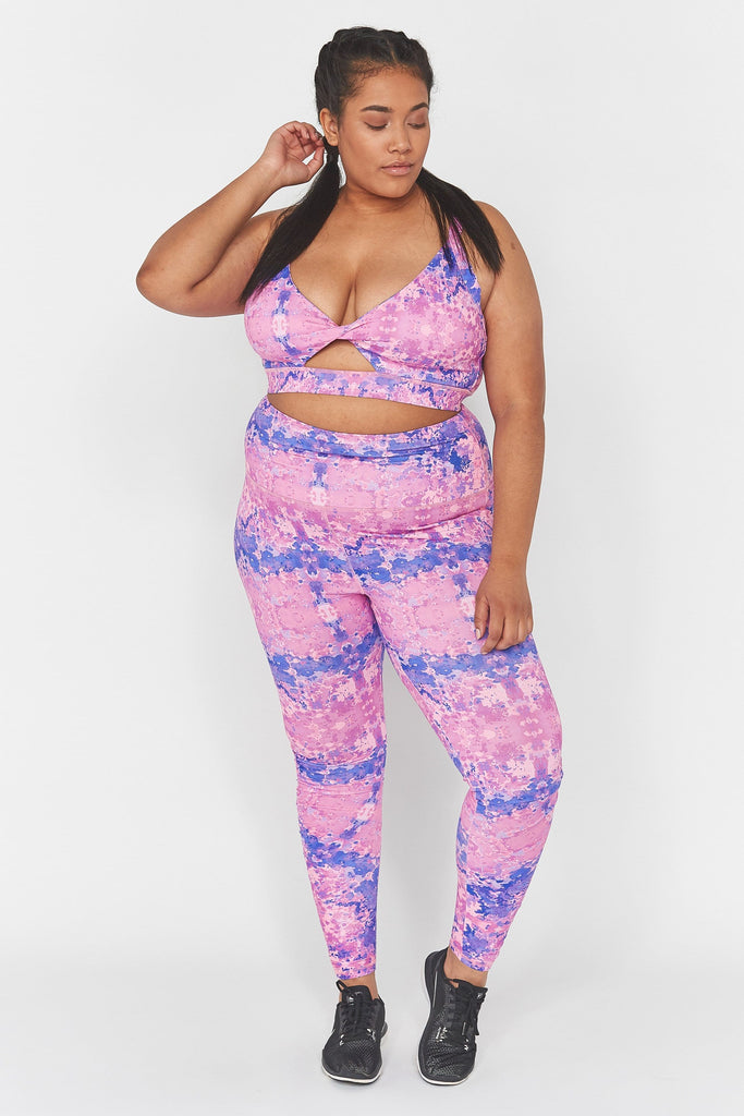 Wolf & Whistle Pink Marble Twist Front Curve Sports Bra