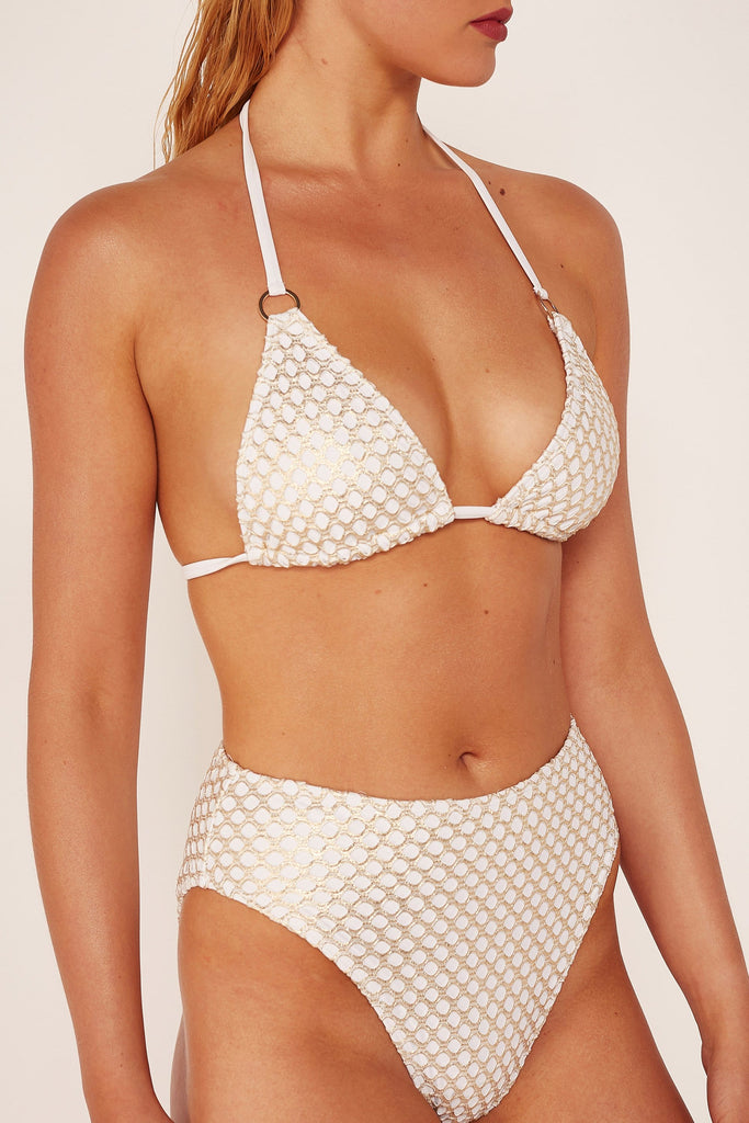 Wolf & Whistle Gold fishnet high waist brief