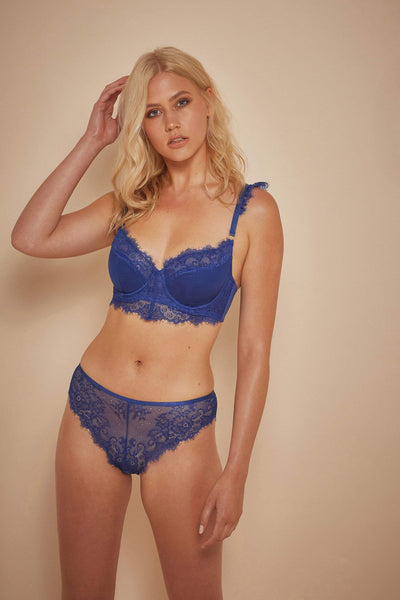 Wolf & Whistle Millie Demi Padded Eyelash Lace Bra Blue B - G