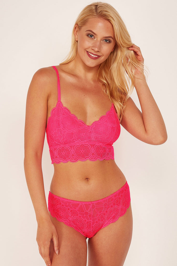 Wolf & Whistle Ariana Lace Neon Pink Brief