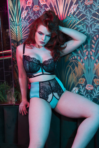 Playful Promises Henrietta Teal Lace Overlay Full Bust Bra