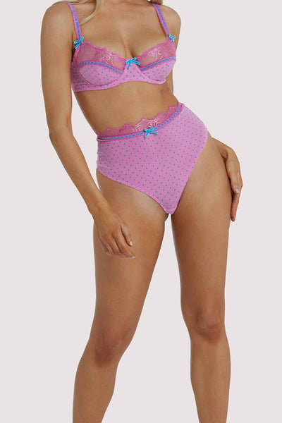 Playful Promises Sophia Pink Curve High Waisted Thong