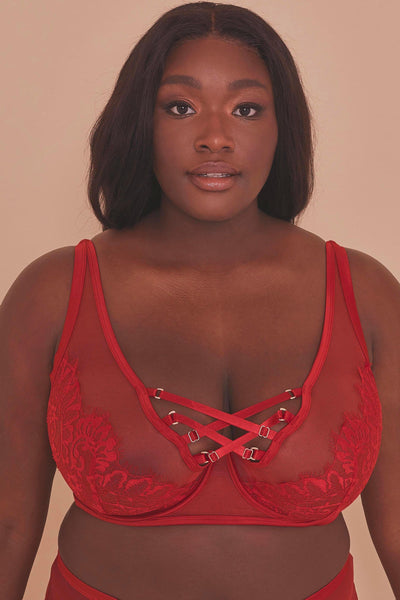 Gabi Fresh Kylie Red Lace Up High Apex Bra