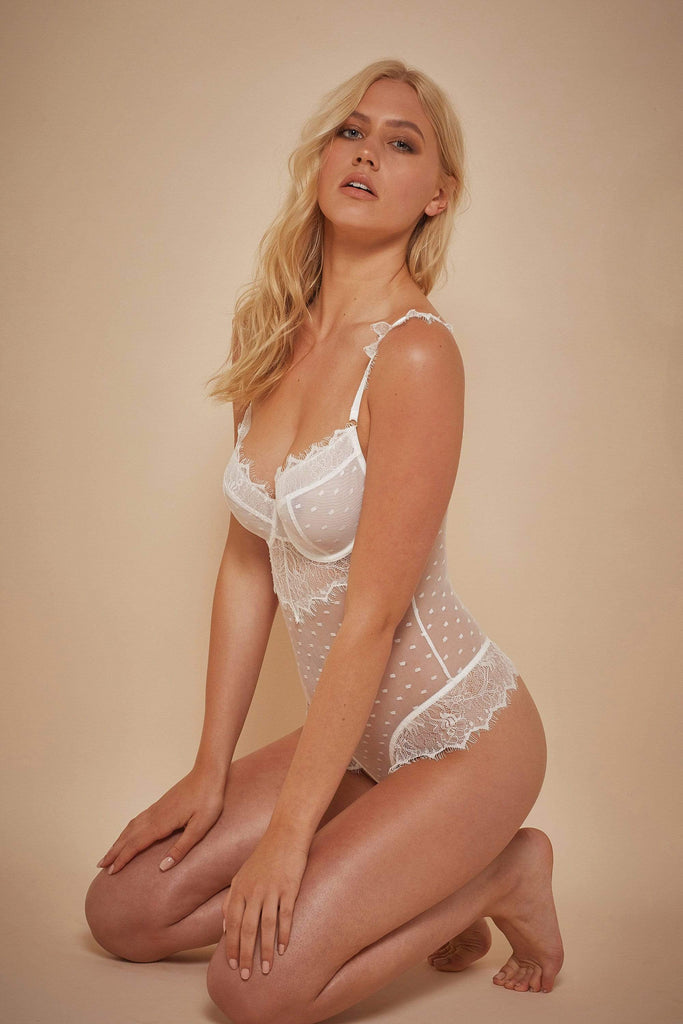 Wolf & Whistle Aime Dot Mesh and Lace Body Ivory