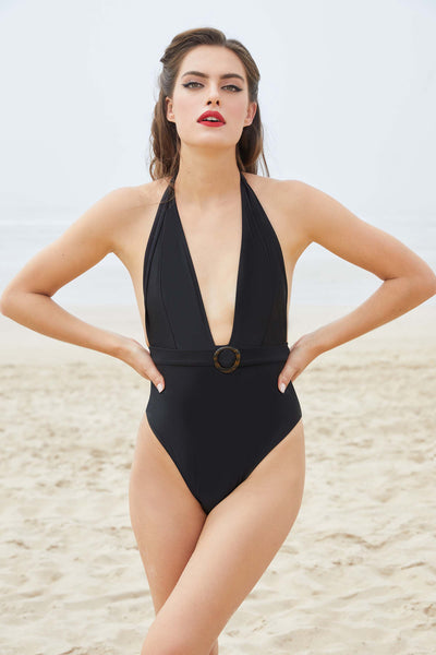 Bettie Page Eco Jayne Black Plunge Swimsuit
