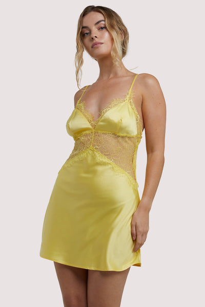 Wolf & Whistle Helena Yellow Slip Dress