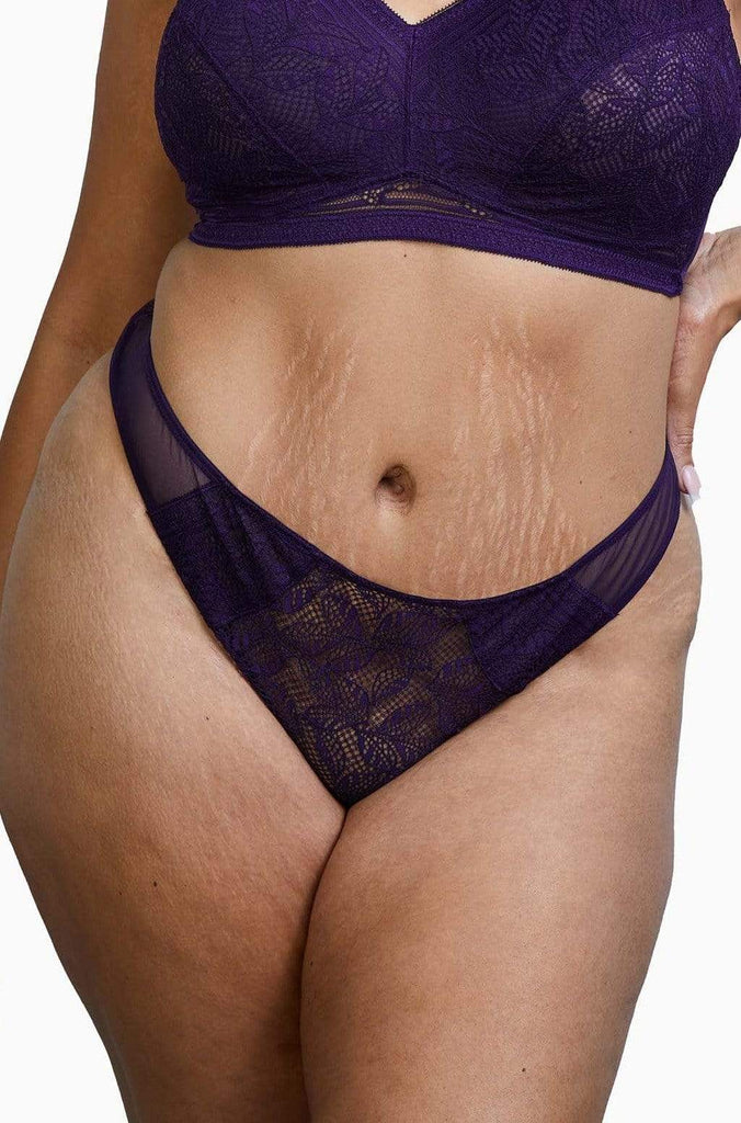 Deja Day Emma Vine Purple Brazilian Lace Brief