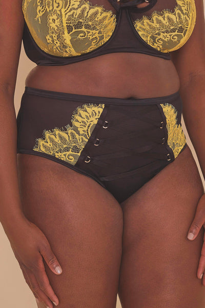 Gabi Fresh Kylie Black/Lime Lace Up High Waist Knicker