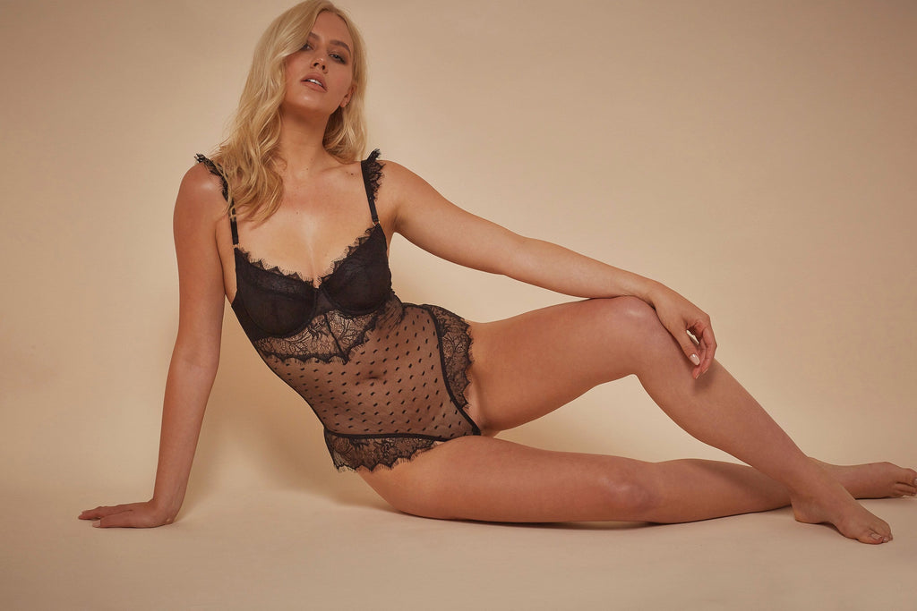 Wolf & Whistle Aime Dot Mesh and Lace Body Black