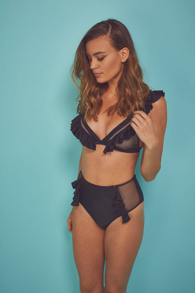 Wolf & Whistle Fishnet and frill Eco triangle top B - G Cups
