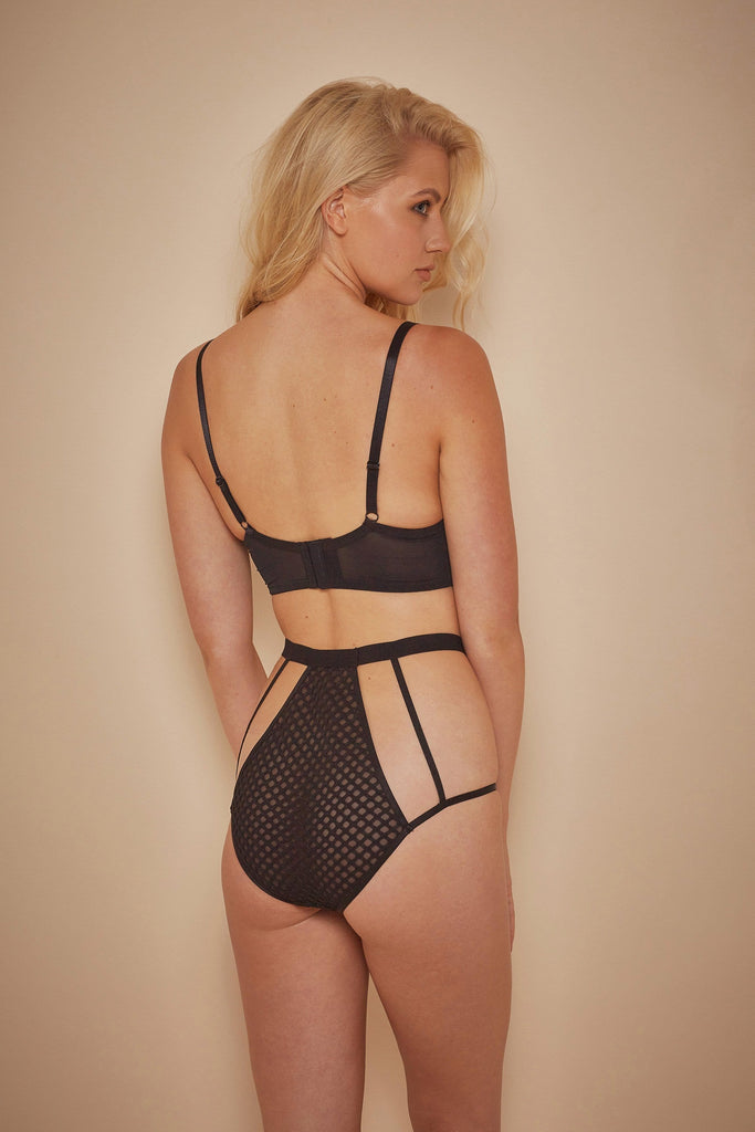 Wolf & Whistle Avis Fishnet and Lace High Waist Brief