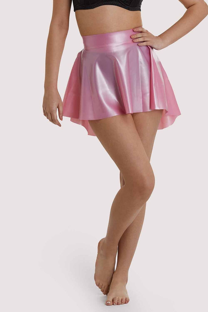 Bettie Page Pink Latex Flippy Skirt