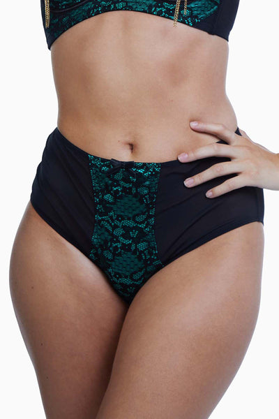 Bettie Page Elsie Emerald Lace High Waisted Brief