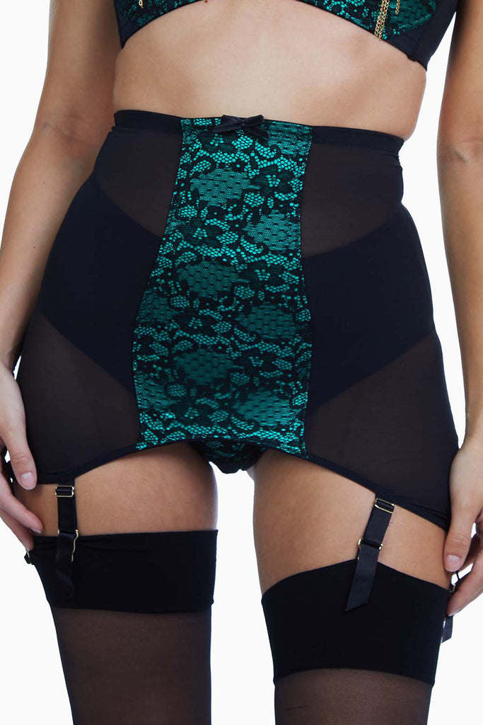 Bettie Page Elsie Emerald Green Lace Girdle