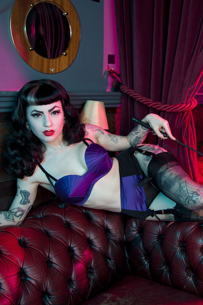 Bettie Page Purple Classic Suspender Belt