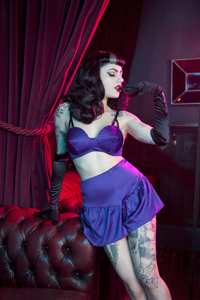 Bettie Page Purple Retro Futuristic Bullet Bra