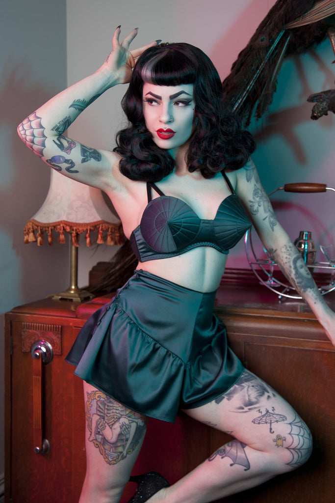 Bettie Page Teal French Knicker