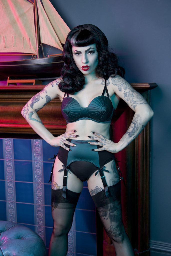Bettie Page Teal Retro Futuristic Bullet Bra