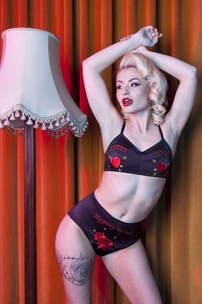 Bettie Page Retro Embroidered Bra