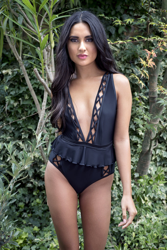 Peek & Beau Black Lattice Swimsuit