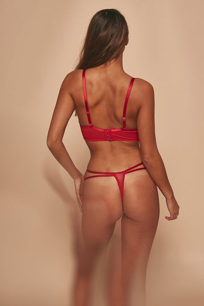 WW x Charlotte McKinney Cara Red Lace Overlay Thong
