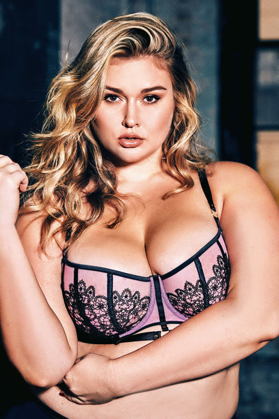 Emelda Lilac Ring detail Curve satin and lace bra