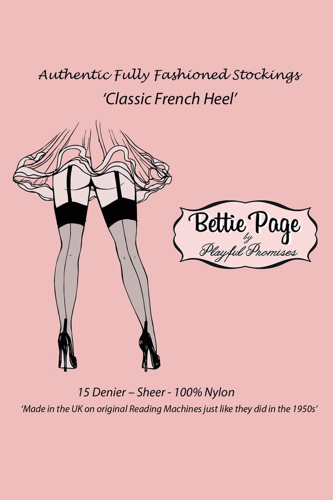 Bettie Page Fully Fashioned Nylon Point Heel Stockings - Black