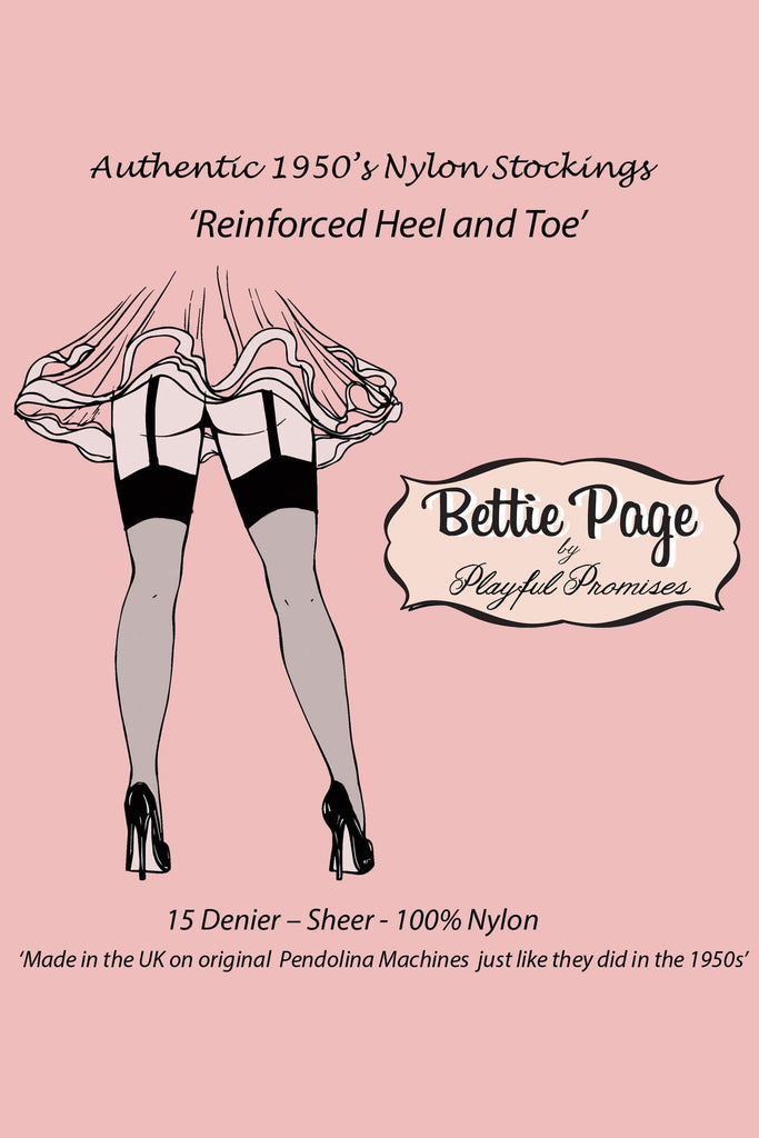 Bettie Page Fully Fashioned Nylon RHT Stockings - Champagne