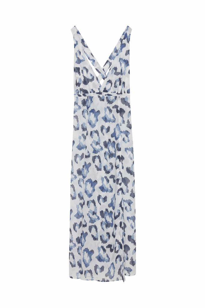 Wolf & Whistle Blue Leopard Beach Dress