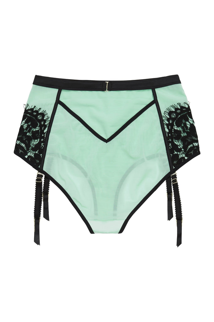 Hedy Mint Curve High Waist Suspender Brief