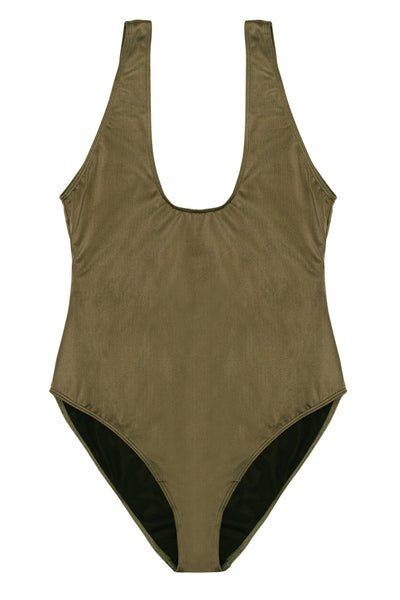 Hunter McGrady Plus Size/Curve Khaki High Leg Low Cut Swimsuit