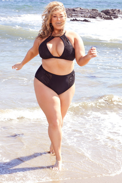 Hunter McGrady Plus Size/Curve Black High Neck Lace Panel Bikini Top