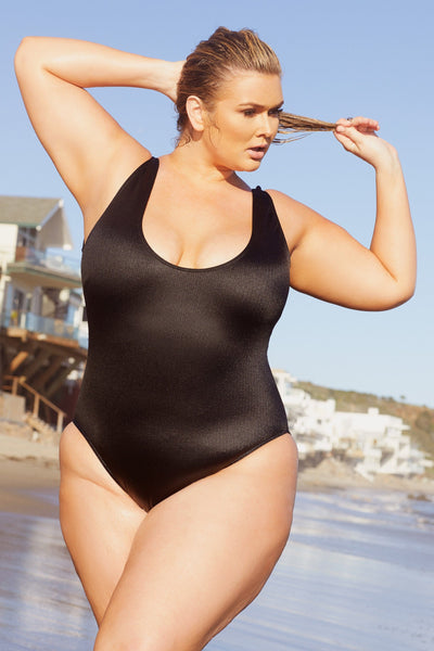 Hunter McGrady Plus Size/Curve Black High Leg Low Cut Swimsuit