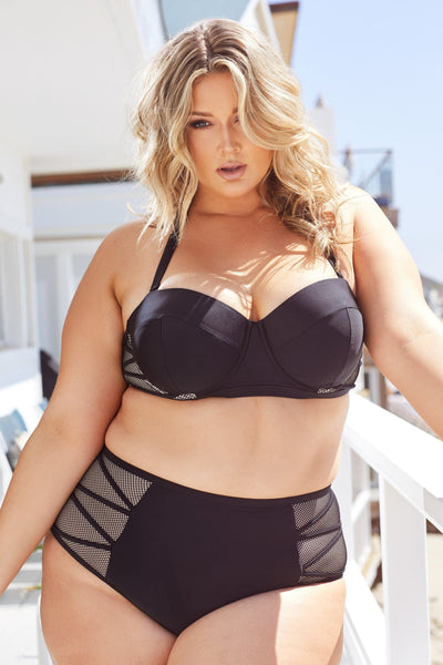 Hunter McGrady Plus Size/Curve Black Mesh Insert Bikini Top