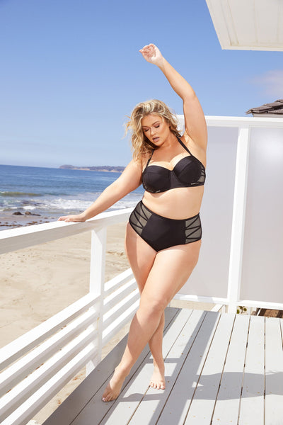Hunter McGrady Plus Size/Curve Black Mesh Insert High Waist Bikini Bottom