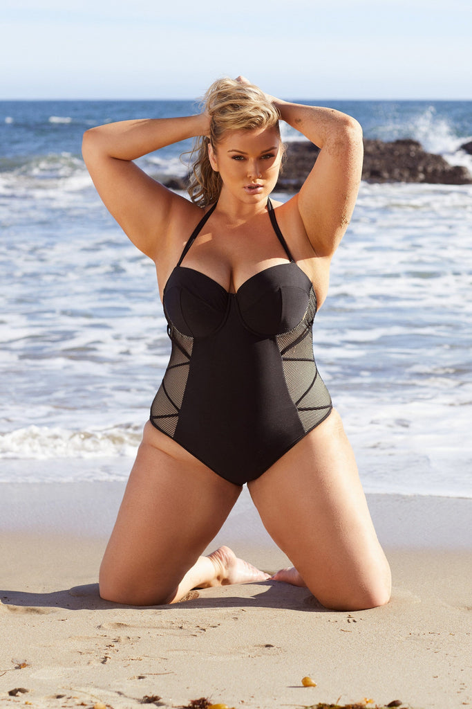 Hunter McGrady Plus Size/Curve Black Mesh Insert Swimsuit
