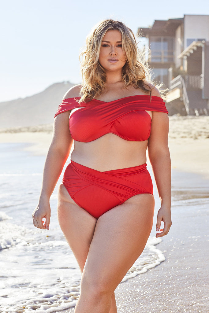 Hunter McGrady Plus Size/Curve Red Wrap Bikini Top