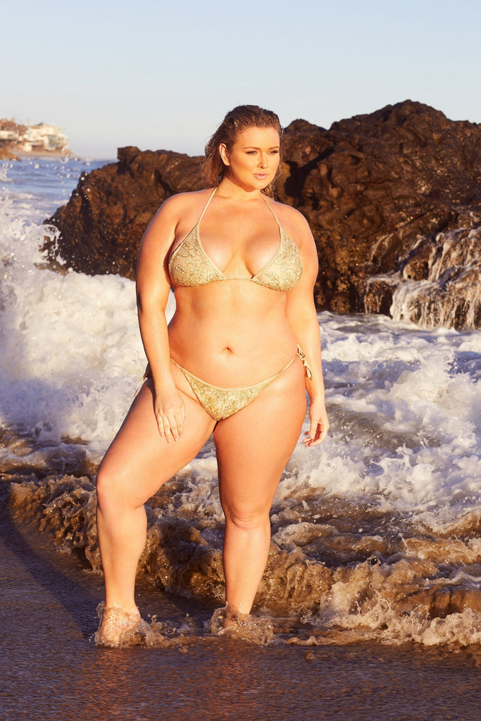 Hunter McGrady Plus Size/Curve Sequin Bikini Top