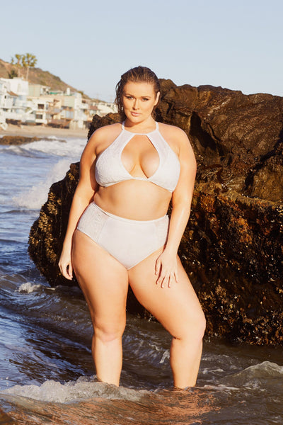 Hunter McGrady Plus Size/Curve White High Neck Lace Panel Bikini Top