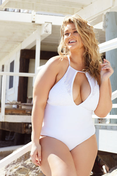 Hunter McGrady Plus Size/Curve White High Neck Lace Panel Swimsuit