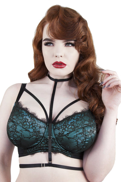 Irena Teal Satin & Lace Harness DD-H Bra