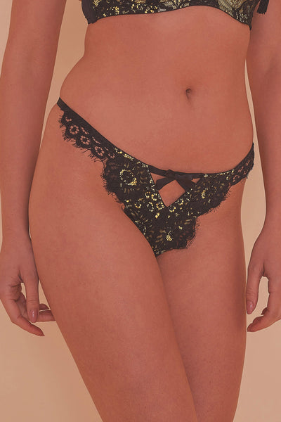 Jaquelina Mustard Contrast Crotchless Thong Core