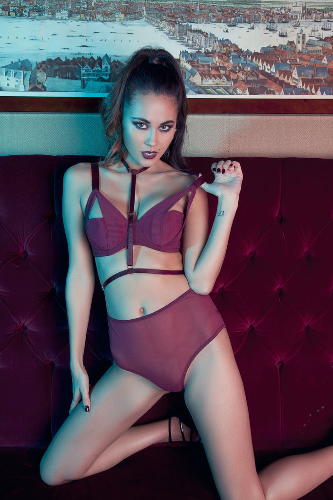 Juliet Wine Harness Bra A-D Cups