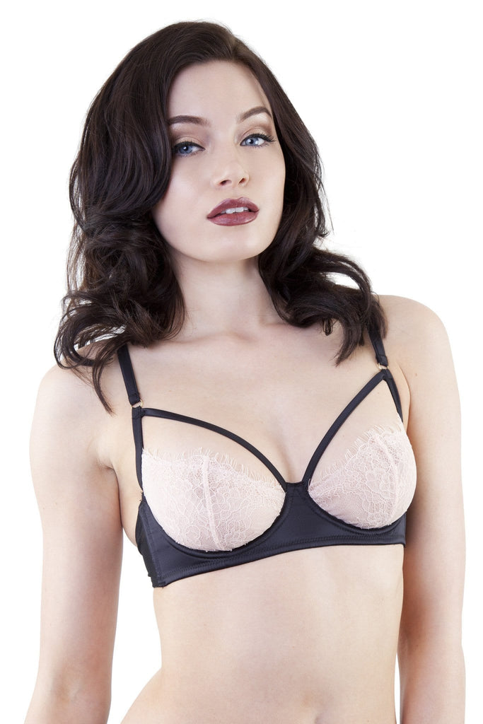 Tamara Black/Peach Lace Bra A-D Cups