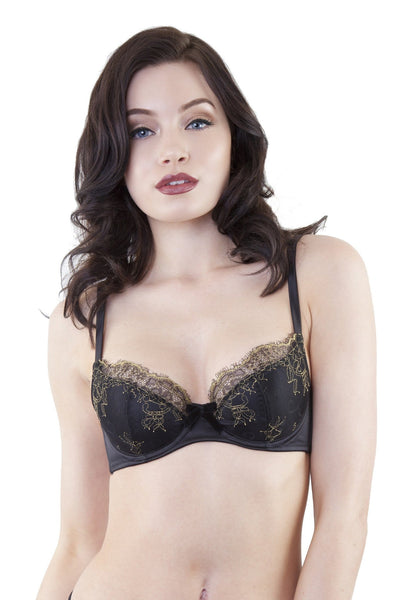 gold and black lace eyelash bra velvet bow overlay