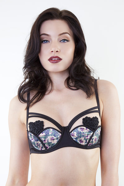 petal floral tulip quarter cup open cup cupless shelf bra harness strappy
