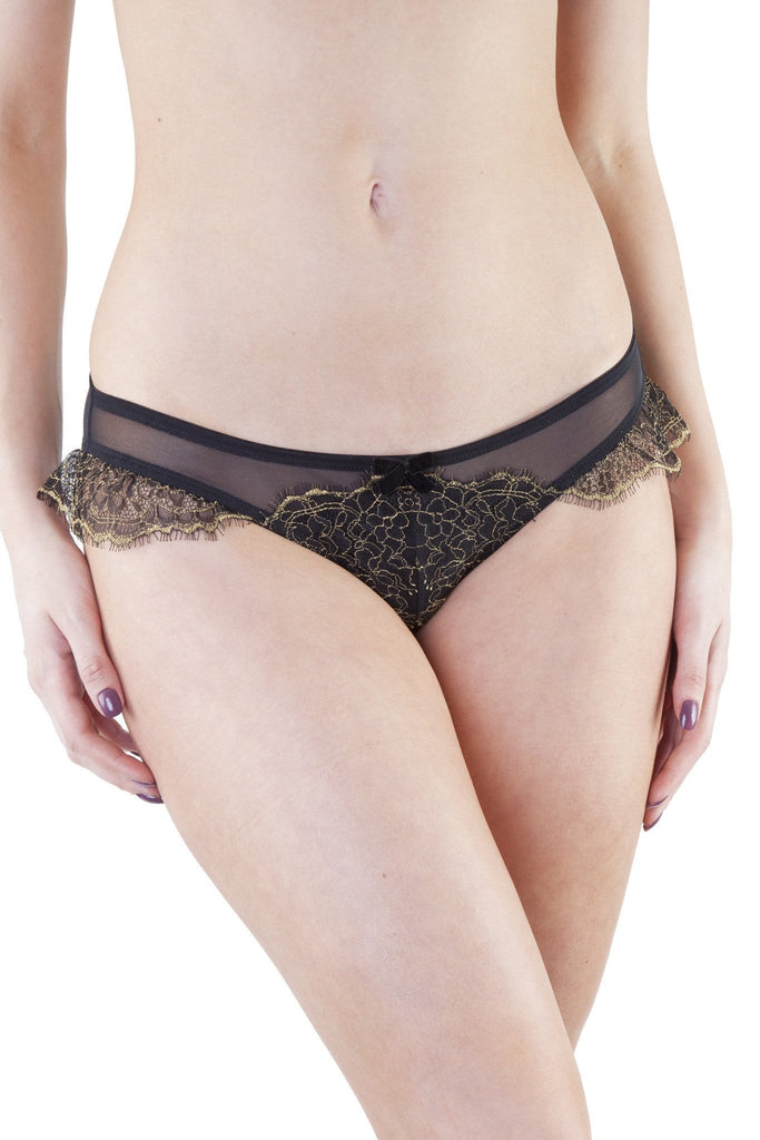 Karine Lace Overlay Brief Black/Gold