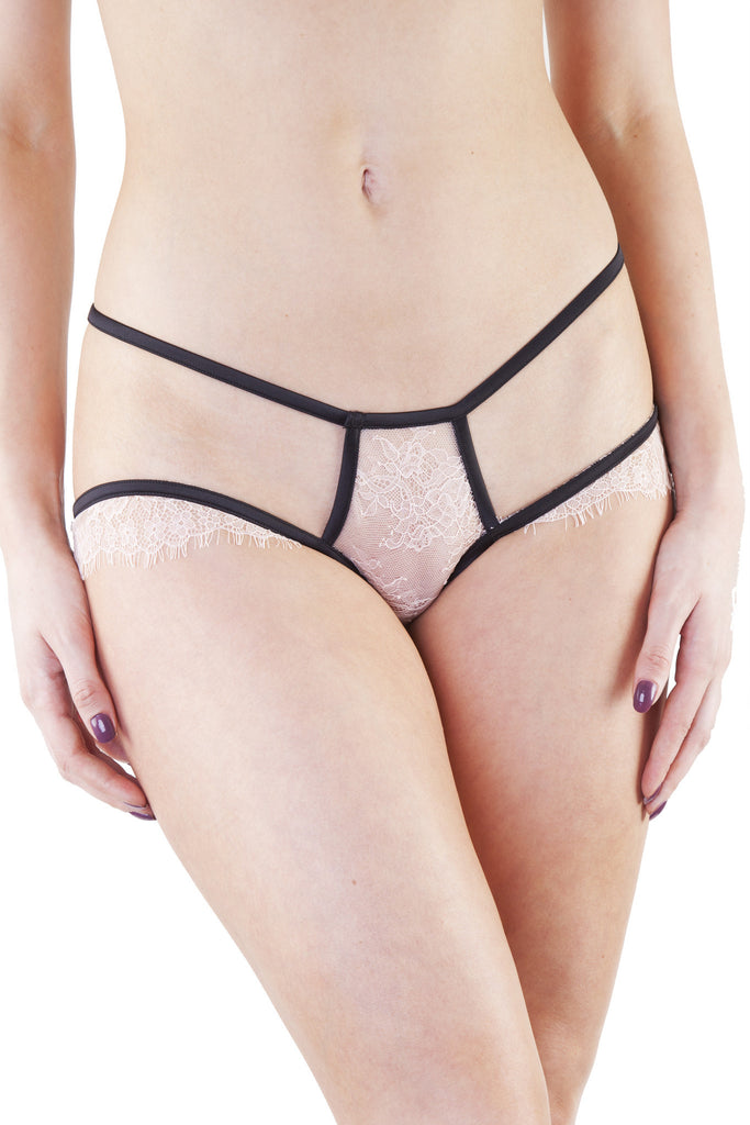 Tamara Black/Peach Lace Brief
